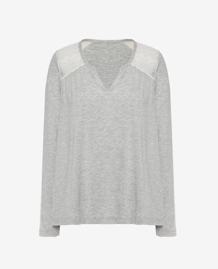 Long-sleeved t-shirt Flecked grey Douceur