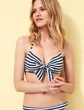 Concealed underwired strapless bikini top Blue stripes Voyage voyage
