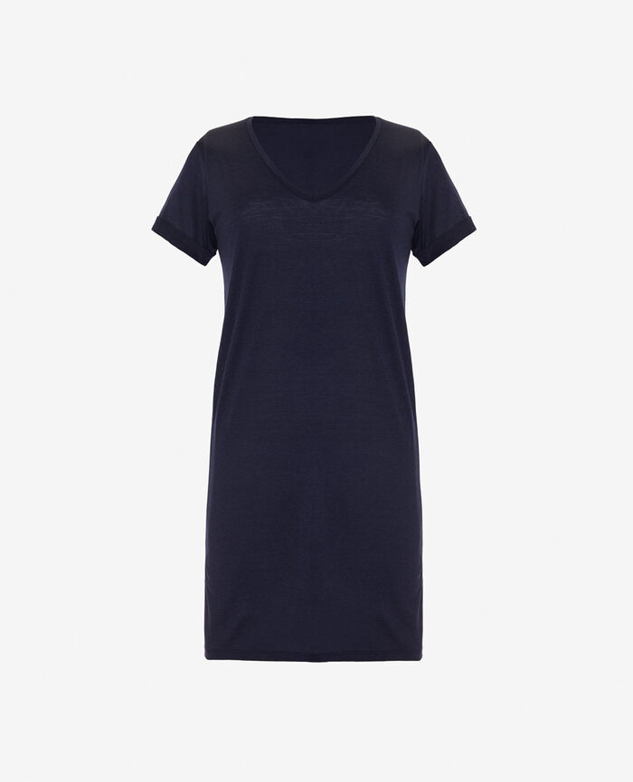 Short-sleeve nightdress Bleu marine Latte