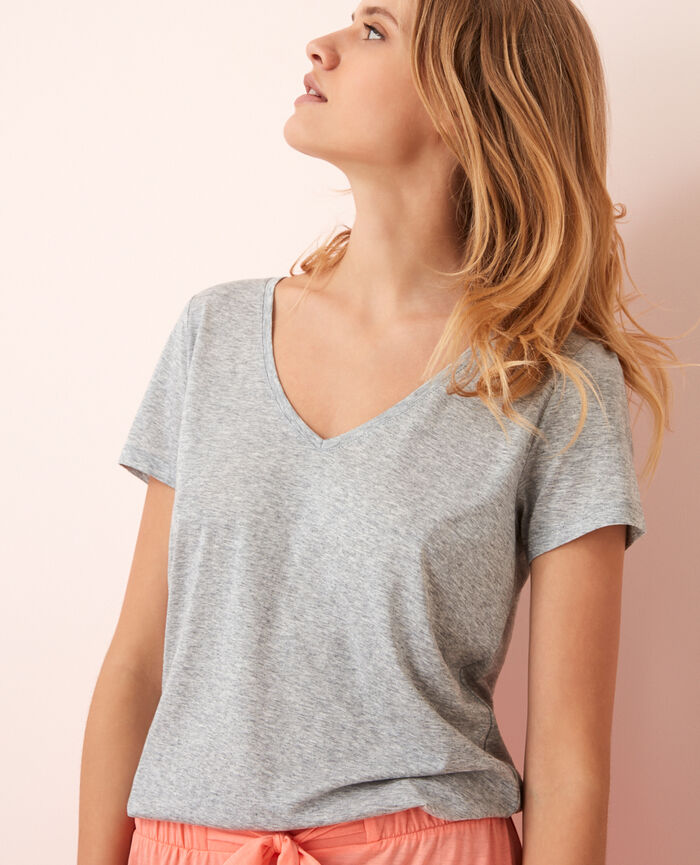 Short-sleeved top with v-neck Gris chiné Latte