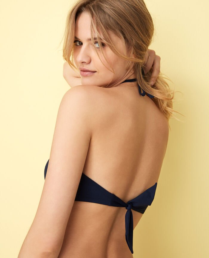 Concealed underwired strapless bikini top Navy Isaia