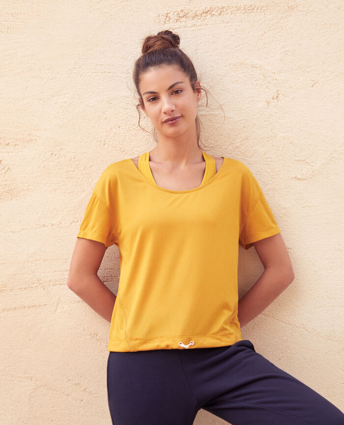 Sports short-sleeved t-shirt Yellow gold Yoga