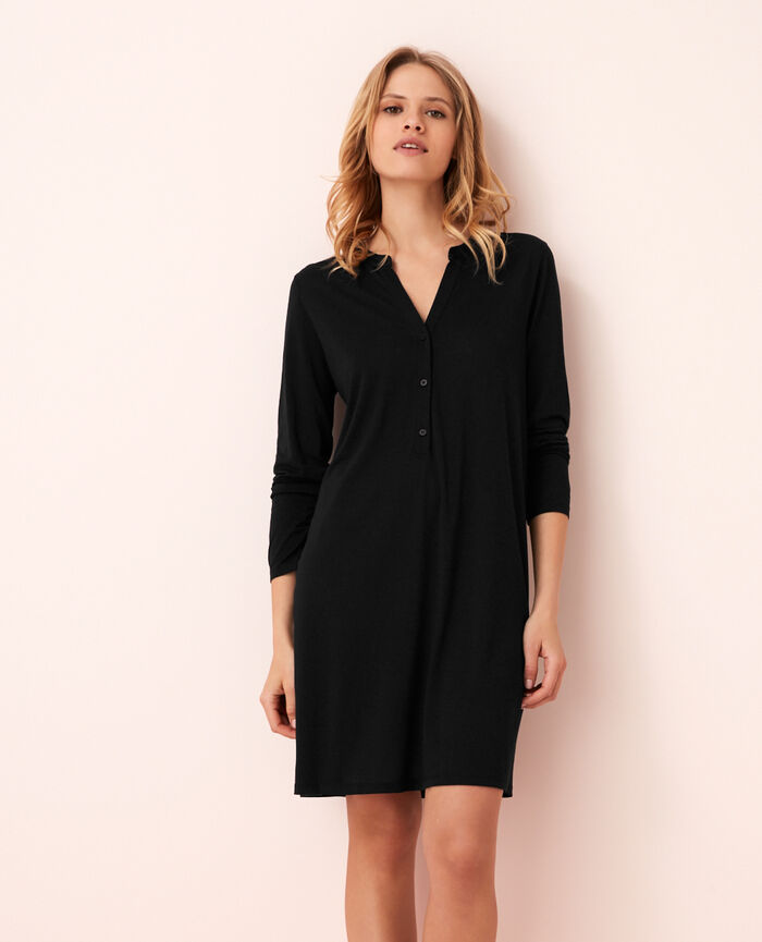 Long-sleeved nightdress Black Latte