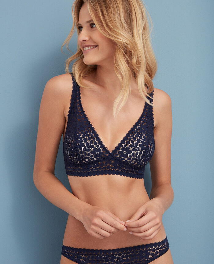 Backless triangle bra multi-position Navy Monica