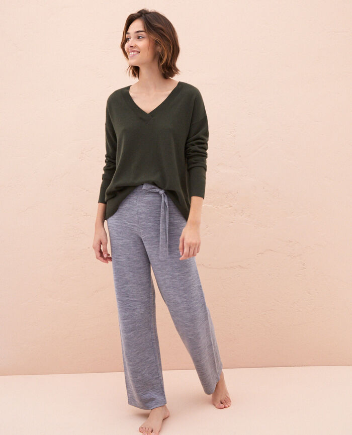 V-neck jumper Moss green Icone