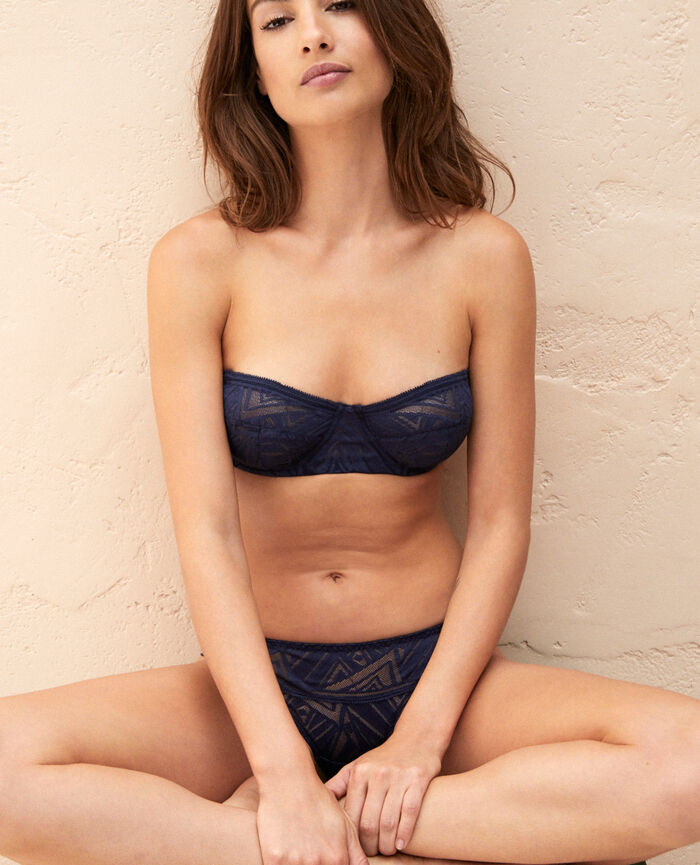 Strapless bra Navy Graphik
