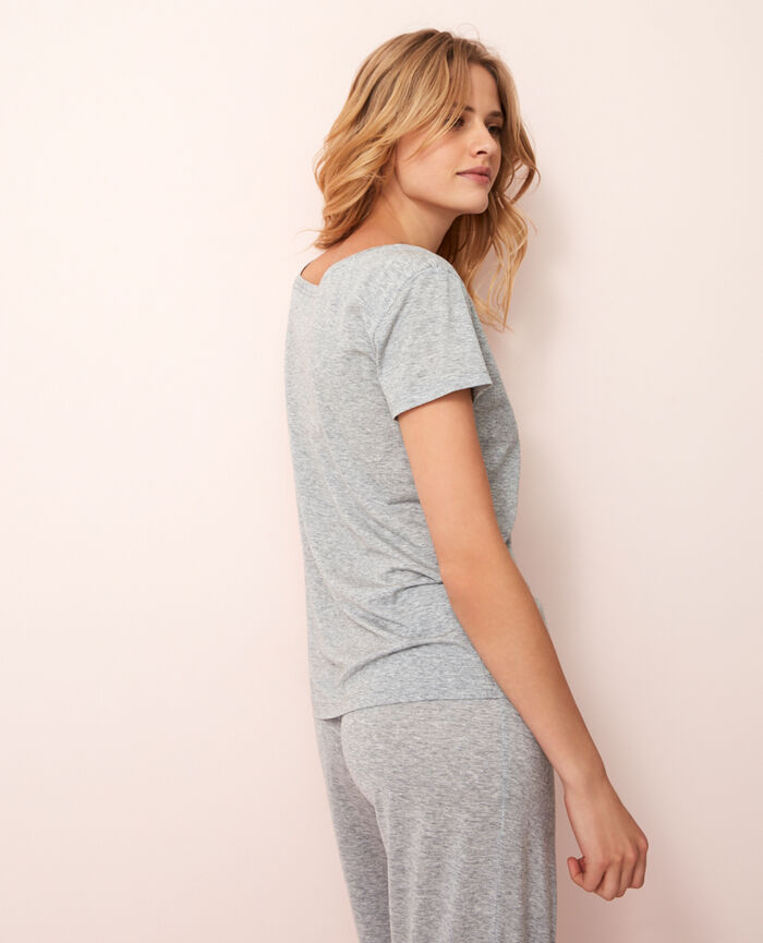 T-shirt with open neck Flecked grey Latte