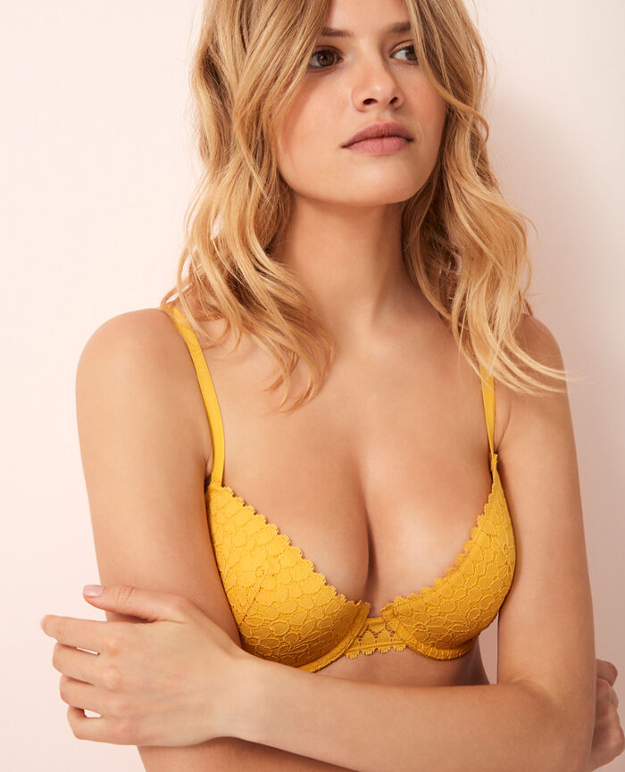 Half-cup padded bra Palm tree yellow Monica