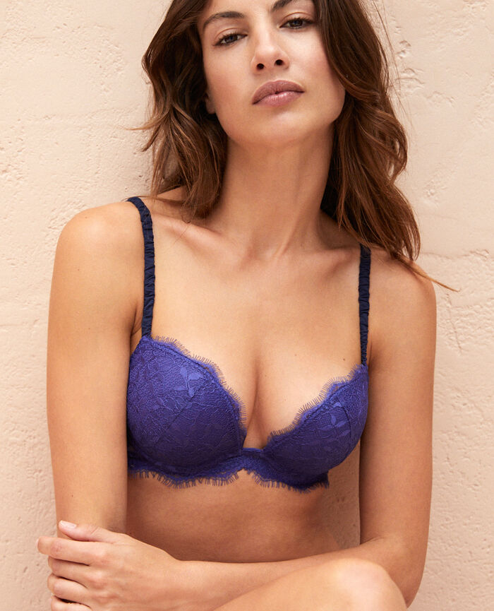 Plunge push-up bra Gouache blue Arty