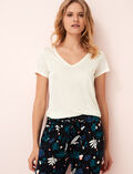 Short-sleeved top with v-neck Ivoiry Latte
