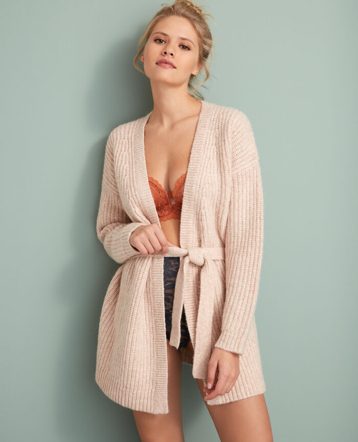 Long-sleeved cardigan Quartz beige Moka