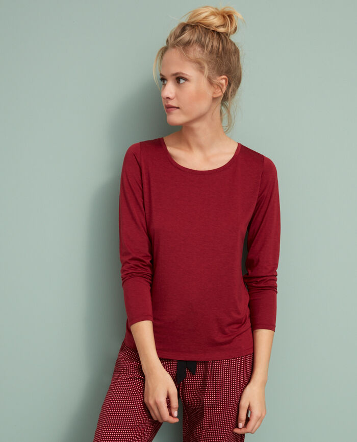 Long-sleeved t-shirt Rouge cuir Latte
