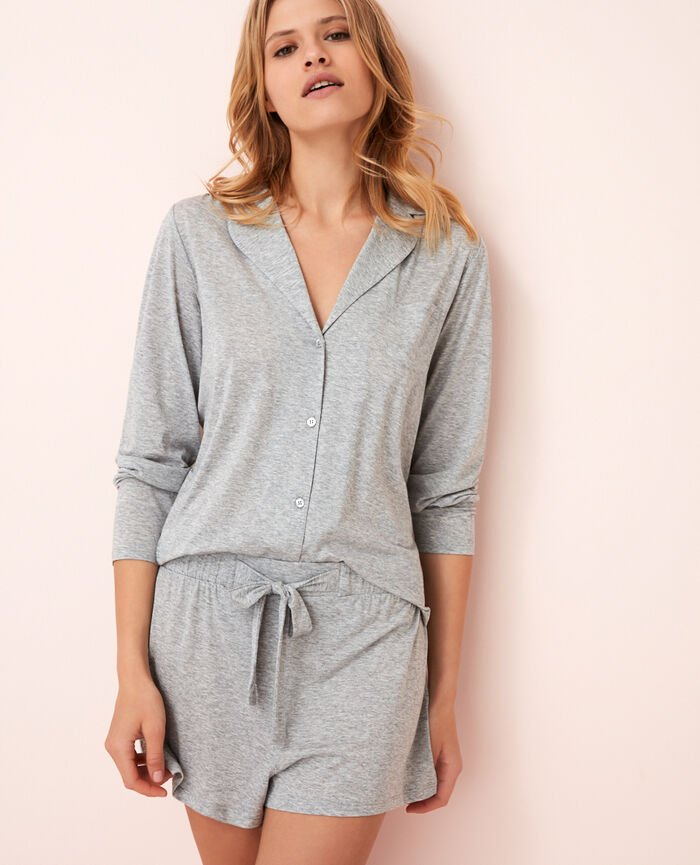 Pyjama jacket Flecked grey Latte