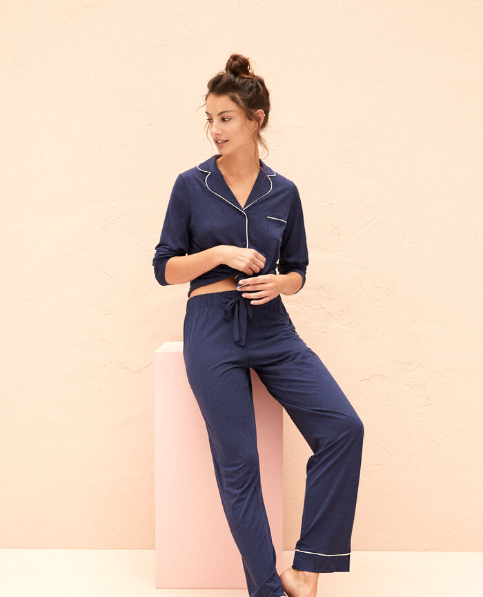 Trousers Navy blue Latte