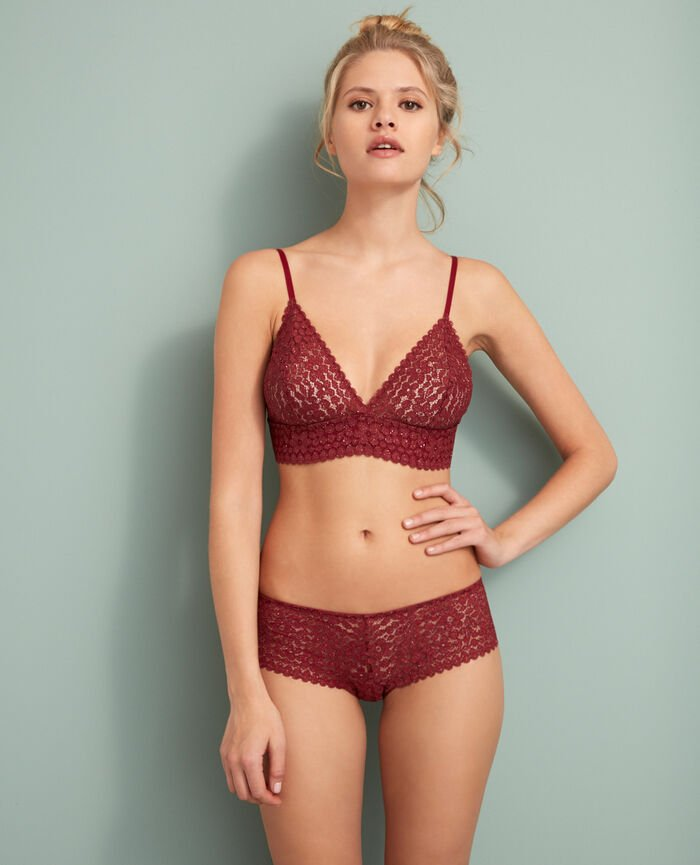 Soft cup bra Leather red Movica