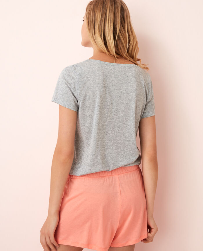 Short-sleeved top with v-neck Flecked grey Latte