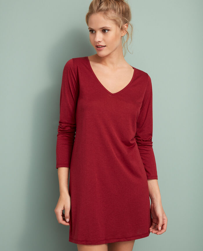 Long-sleeved tunic Leather red Latte