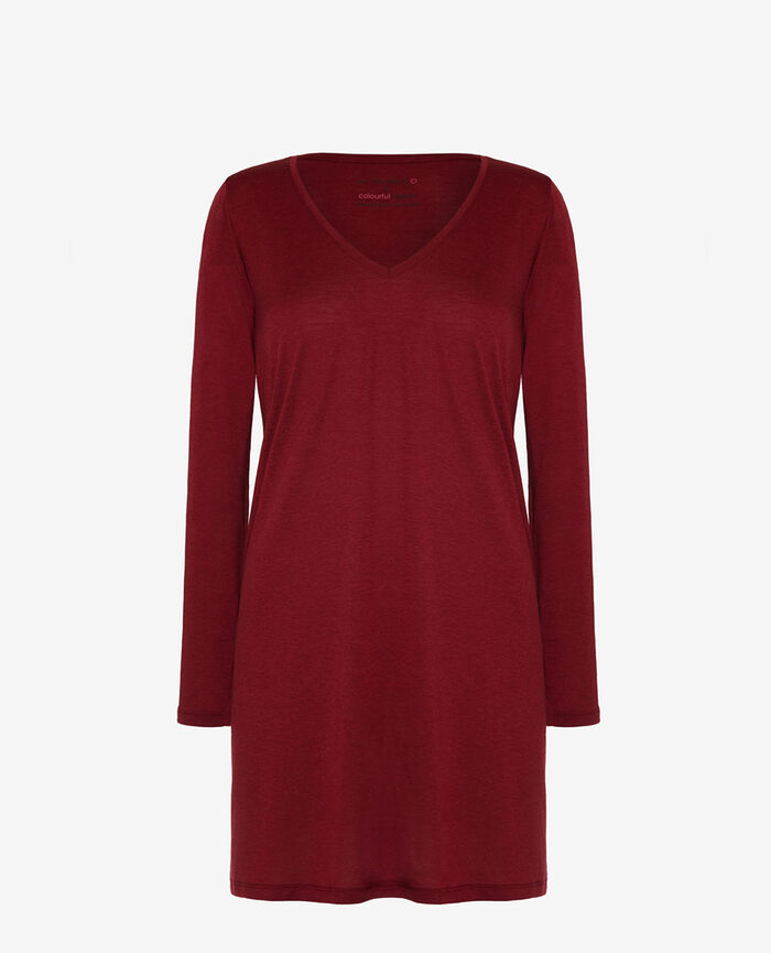 Long-sleeved nightdress Leather red Latte