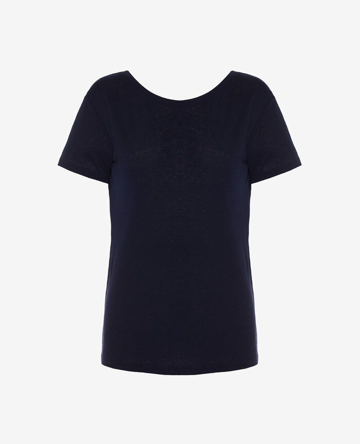 Short-sleeved open back t-shirt with v-neck Navy Elisa