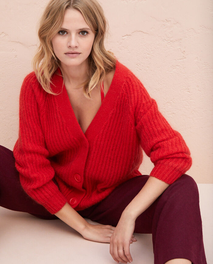 Long-sleeved cardigan Flash red Sensation