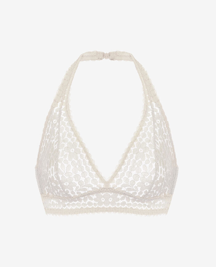 Backless triangle bra multi-position Blanc rosé Monica